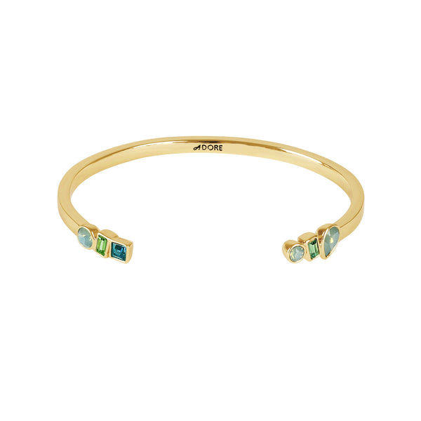 Mixed Crystal Cuff - Turquoise Multi/Gold Plated