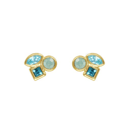 Mini Mixed Crystal Stud Earrings - Turquoise Multi/Gold Plated
