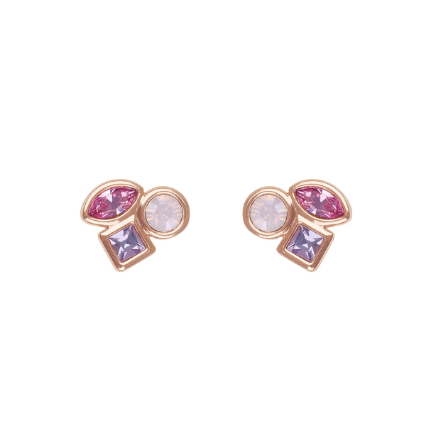 Mini Mixed Crystal Stud Earrings - Pink Multi/Rose Gold Plated