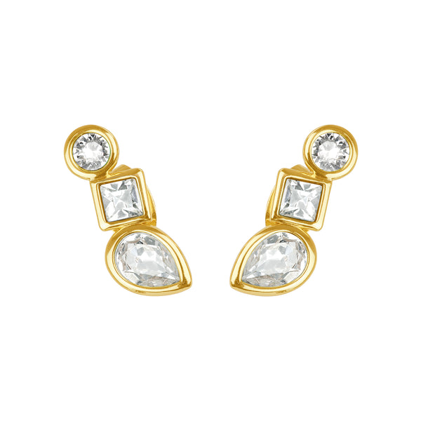 Mixed Crystal Linear Stud Earrings - Crystal/Gold Plated