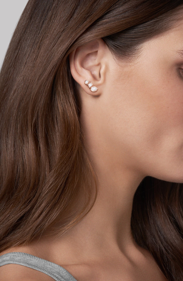 Mixed Crystal Linear Stud Earrings - Crystal/Rose Gold Plated