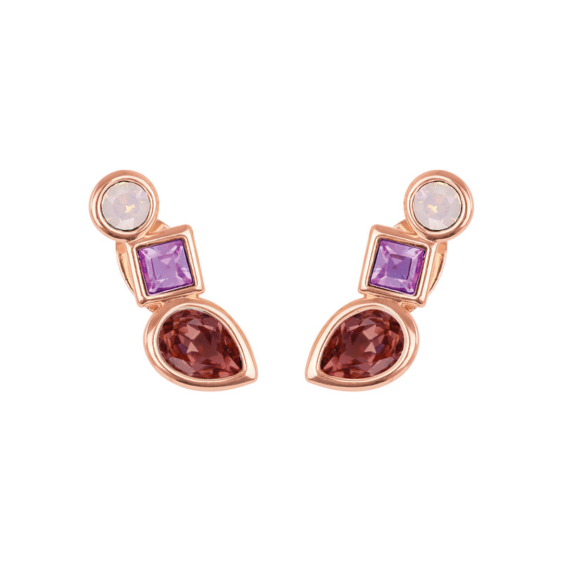 Mixed Crystal Linear Stud Earrings - Pink Multi/Rose Gold Plated