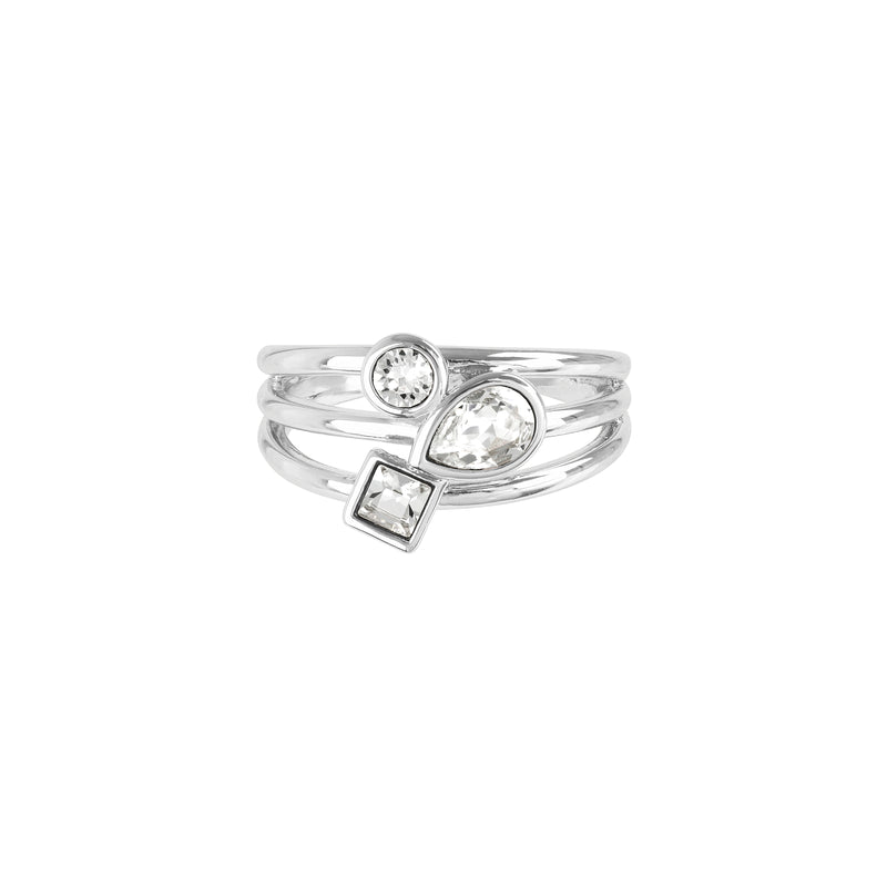 Mixed Crystal Charm Ring - Crystal/Rhodium Plated
