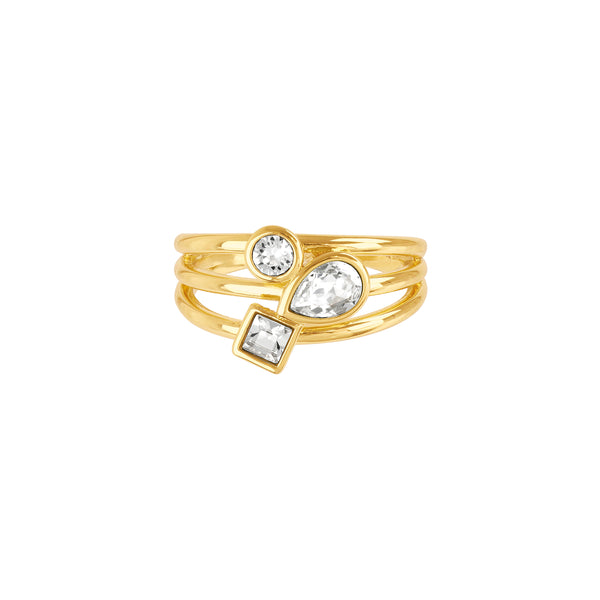 Mixed Crystal Charm Ring - Crystal/Gold Plated