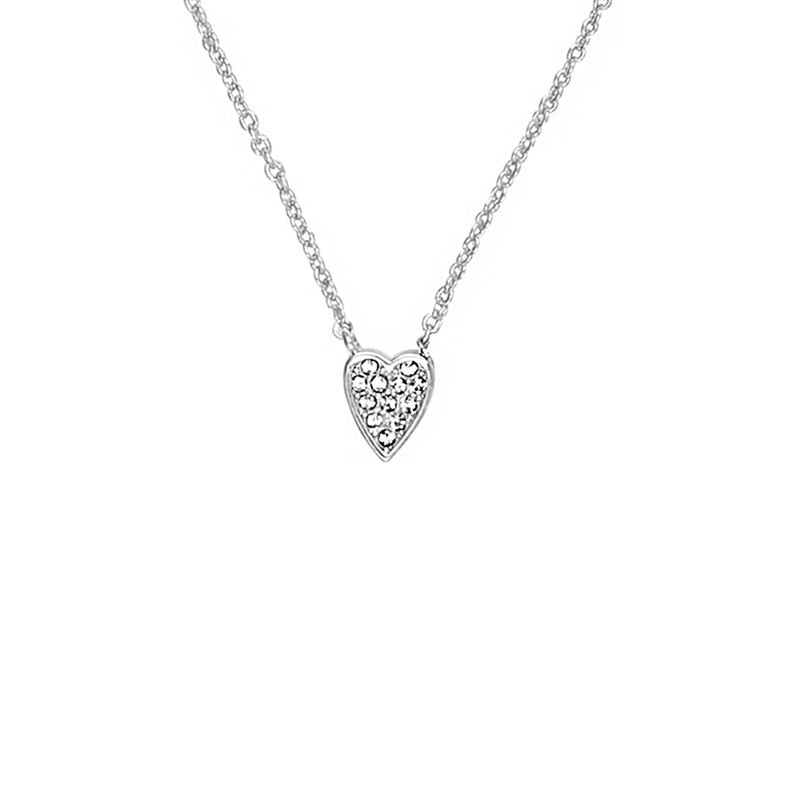 Mini Pavé Heart Necklace - Crystal/Rhodium Plated