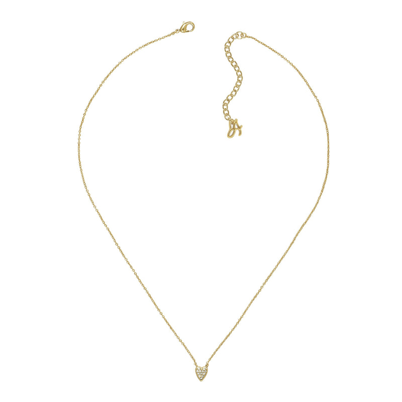 Mini Pavé Heart Necklace - Crystal/Gold Plated