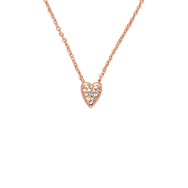 Mini Pavé Heart Necklace - Crystal/Rose Gold Plated