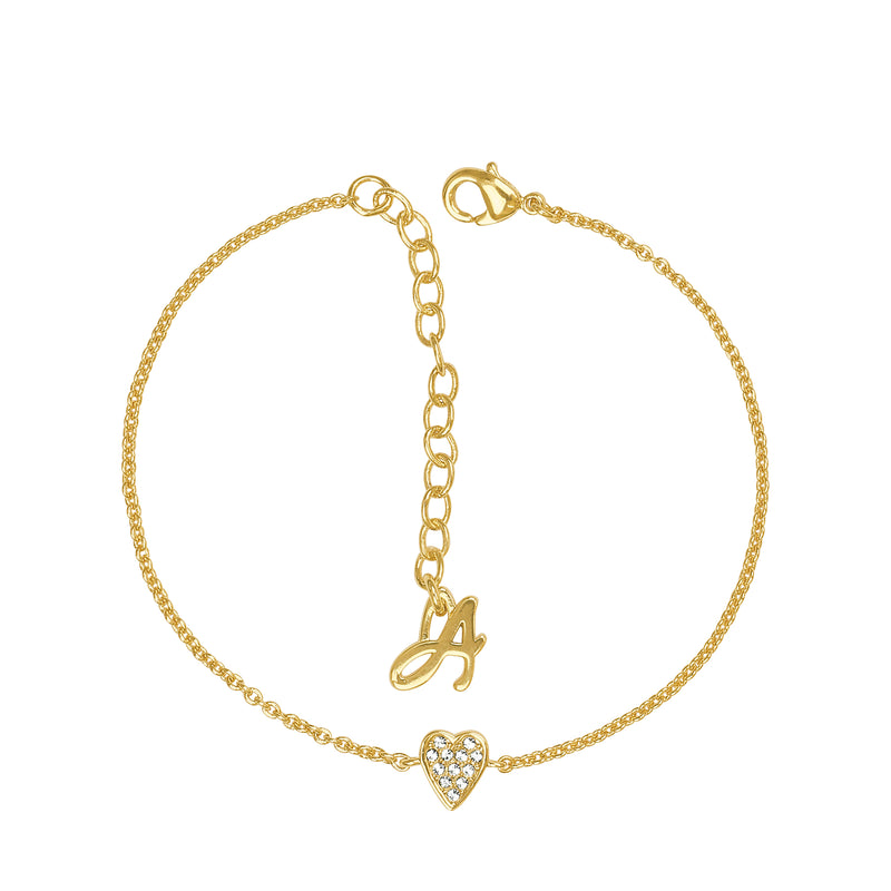 Mini Pavé Heart Bracelet - Crystal/Gold Plated