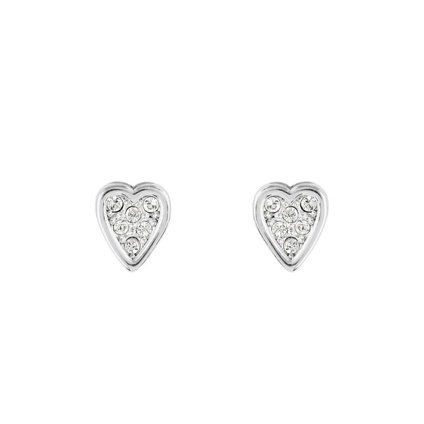 Mini Heart Stud Earrings - Crystal/Rhodium Plated