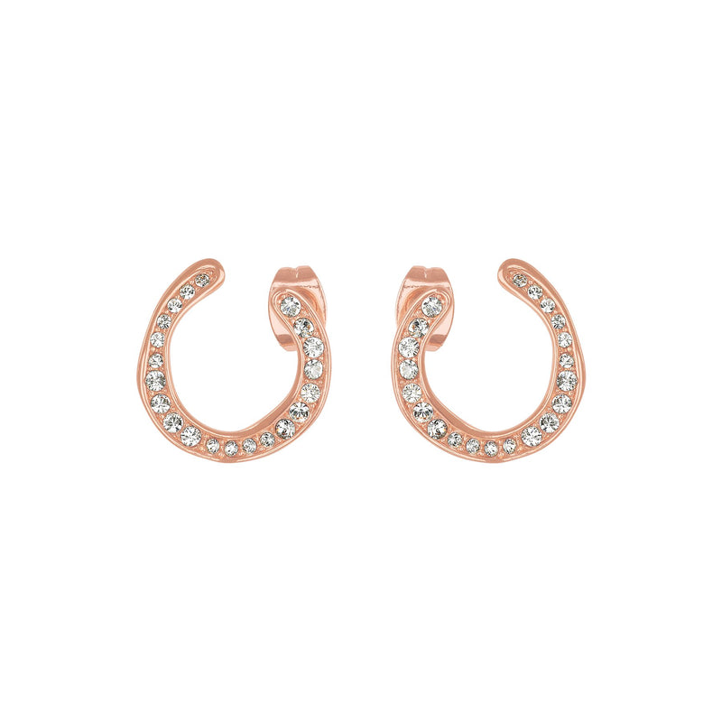 Organic Circle Hoops - Crystal/Rose Gold Plated