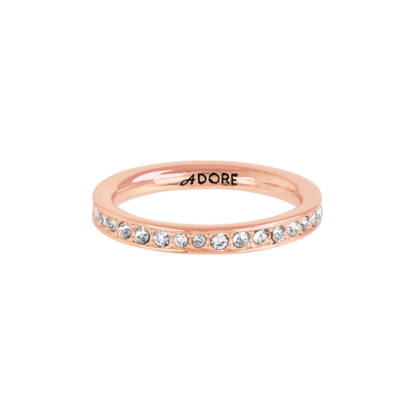 Organic Circle Stacking Ring - Crystal/Rose Gold Plated