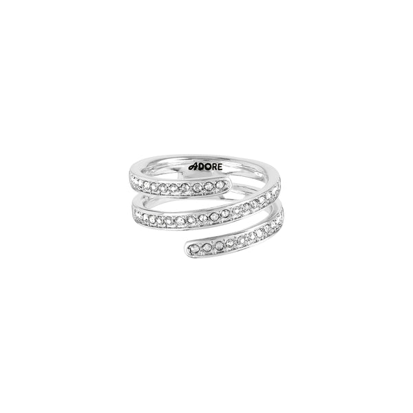 Small Coil Ring - Crystal/Rhodium Plated