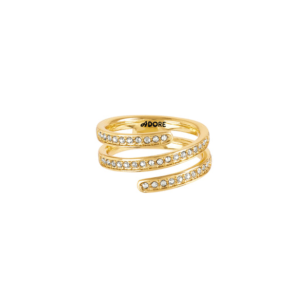 Small Coil Ring - Crystal/Gold Plated
