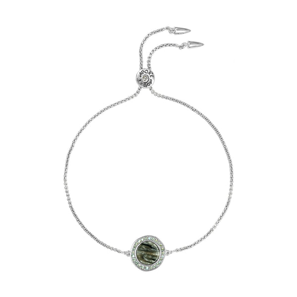 Rhodium Plated Adore Naturale Organic Circle Resin Slide Bracelet Detail