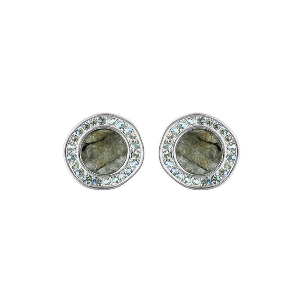 Small Organic Resin Post Earrings - Crystal/Rhodium Plated