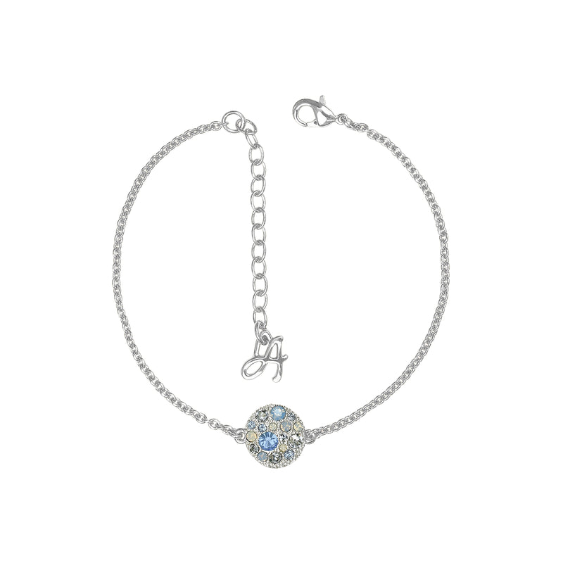 Mini Metallic Pavé Disc Bracelet - Blue Multi/Rhodium Plated