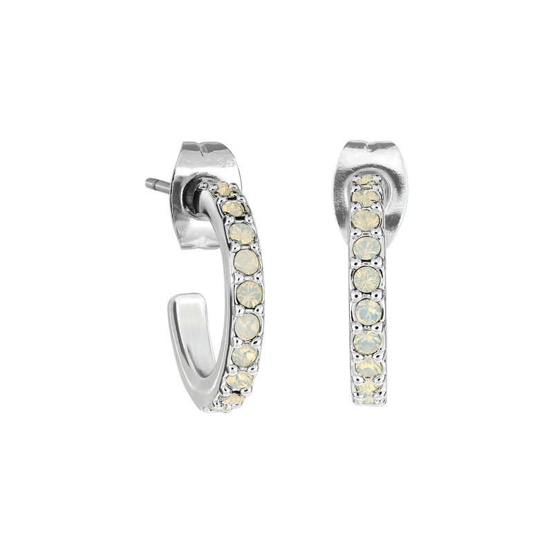 Pavé Hoops - White Opal/Rhodium Plated