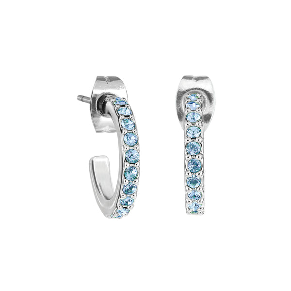 Pavé Hoops - Light Sapphire/Rhodium Plated