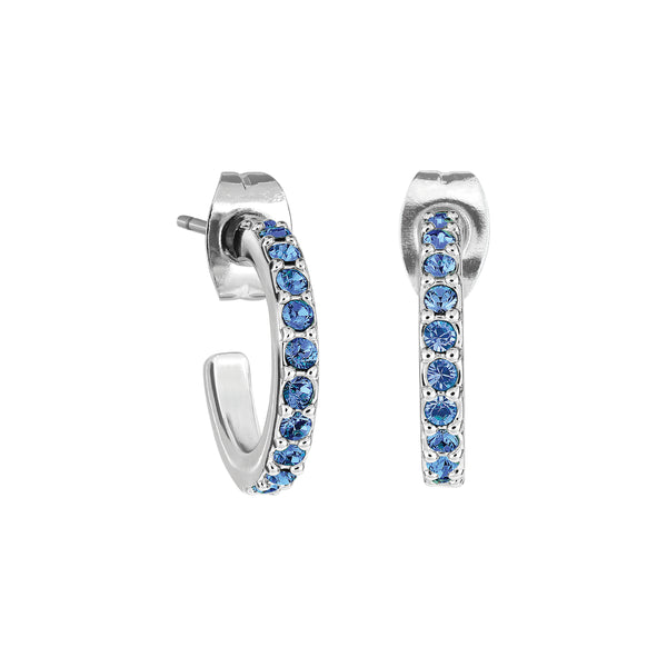 Pavé Hoops - Sapphire/Rhodium Plated