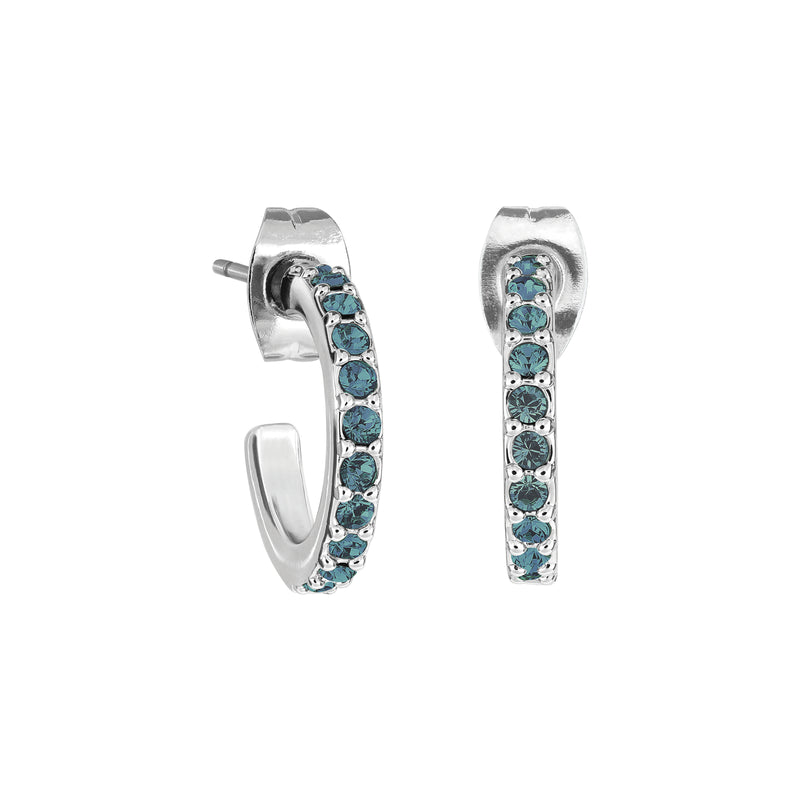 Pavé Hoops - Montana/Rhodium Plated