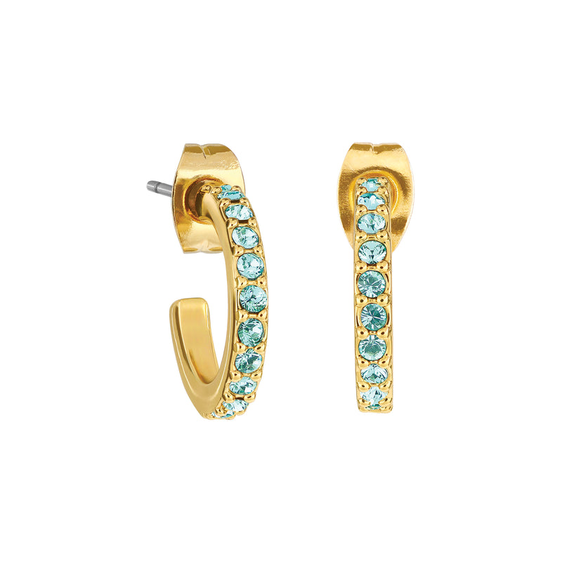 Pavé Hoops - Light Turquoise/Gold Plated