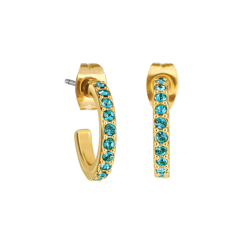 Pavé Hoops - Indicolite/Gold Plated