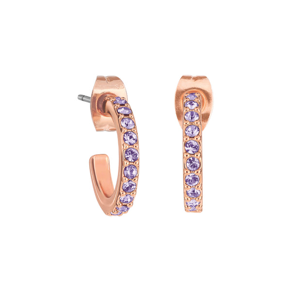 Pavé Hoops - Tanzanite/Rose Gold Plated