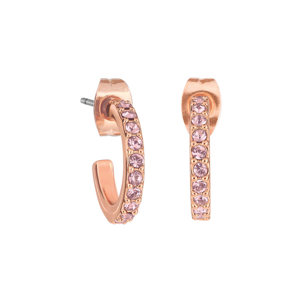 Pavé Hoops - Crystal Antique Pink/Rose Gold Plated