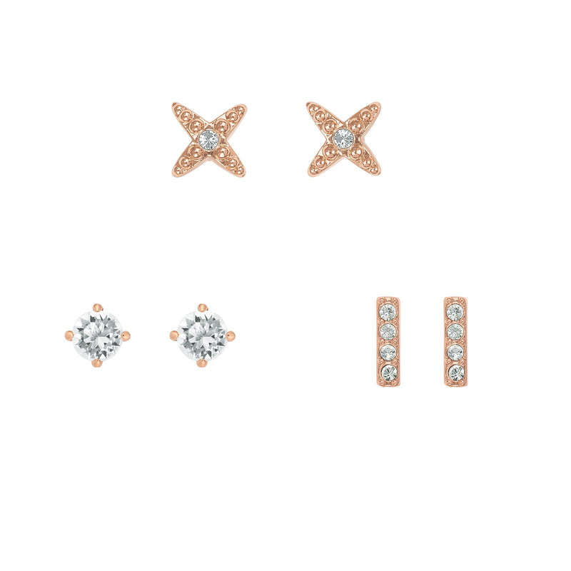 Earrings Box Set - Crystal/Rose Gold Plated