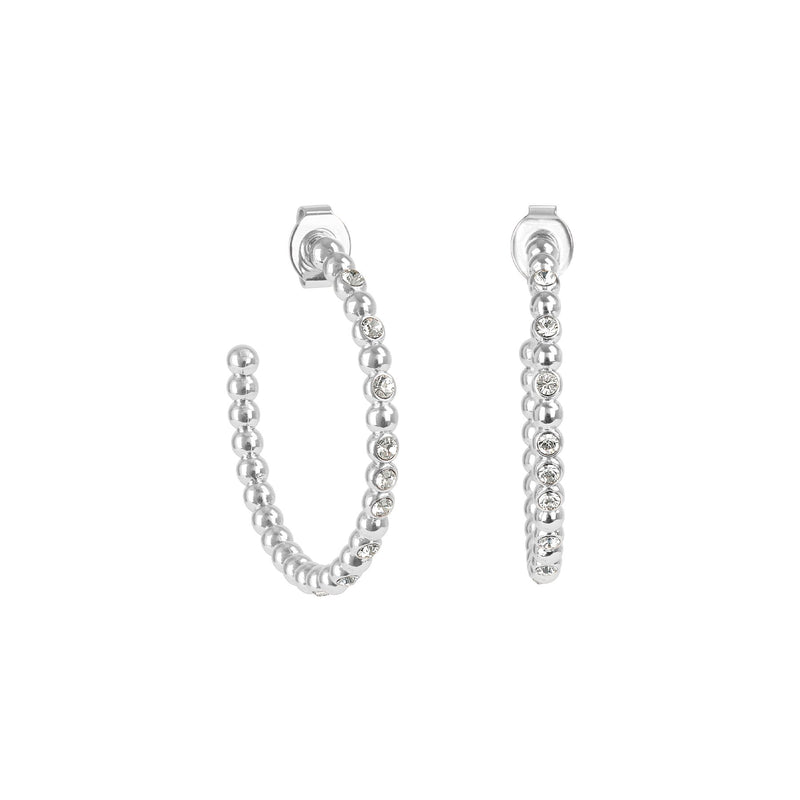 Rhodium Adore Allure Crystal Beaded Large Hoops Detail