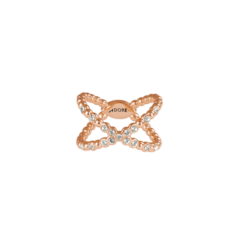 Beaded Crossing Ring - Crystal/Rose Gold Plated