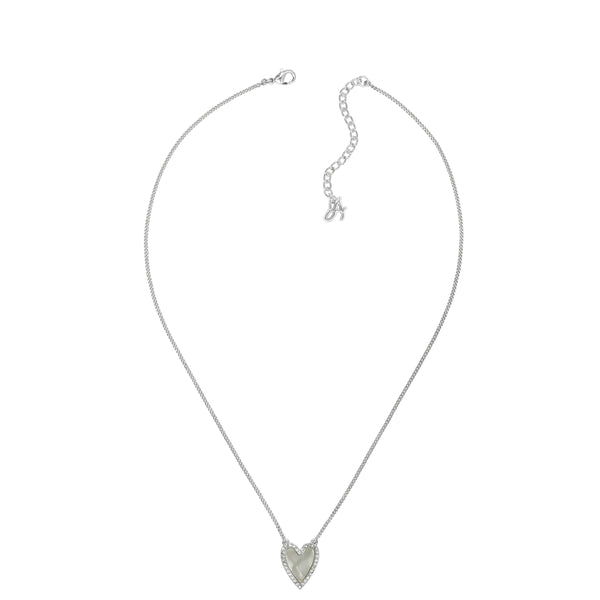 Pavé Resin Heart Necklace - Crystal/Rhodium Plated