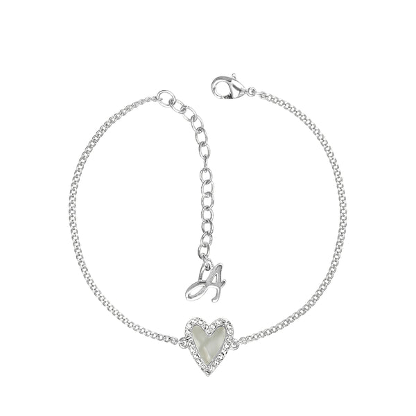 Pavé Resin Heart Bracelet - Crystal/Rhodium Plated