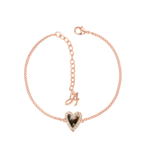 Pavé Resin Heart Bracelet - Crystal/Rose Gold Plated
