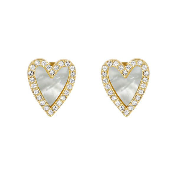 Pavé Resin Heart Earrings - Crystal/Gold Plated