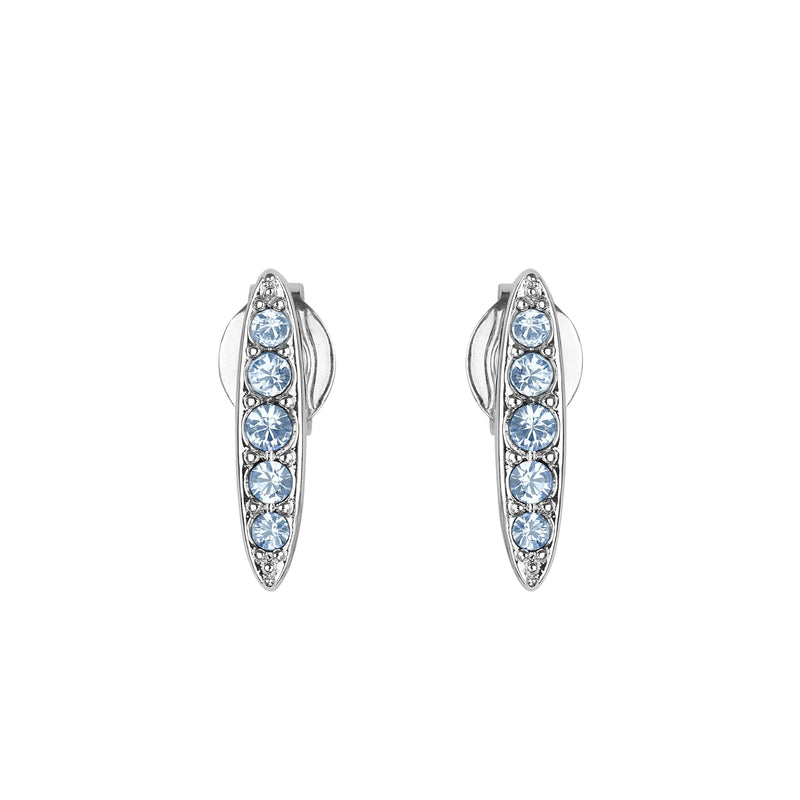 Pavé Navette Stud Earrings - Light Sapphire/Rhodium Plated