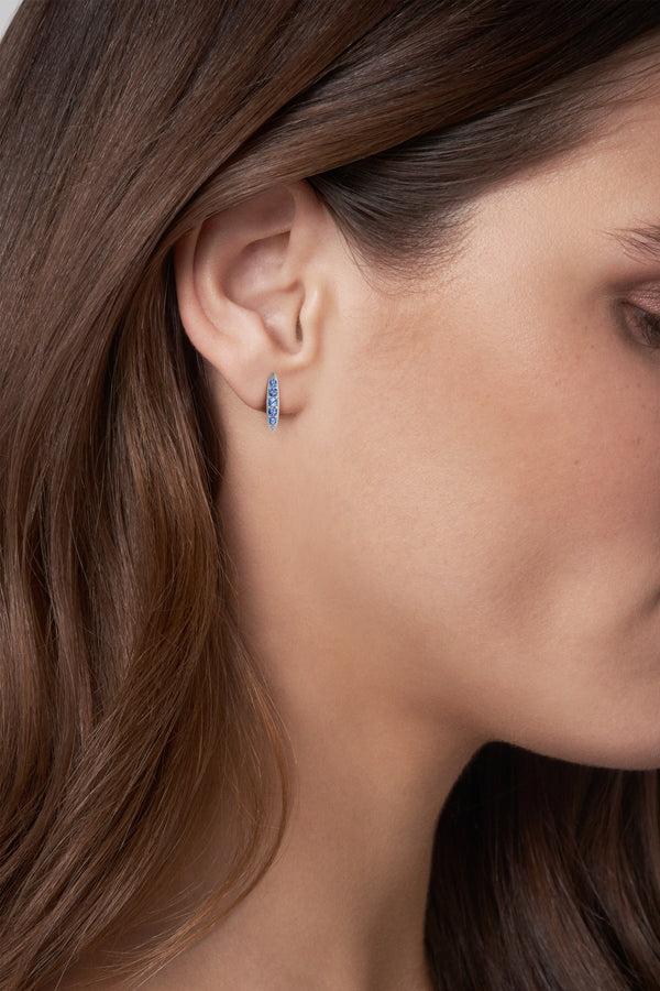 Pavé Navette Stud Earrings - Sapphire/Rhodium Plated