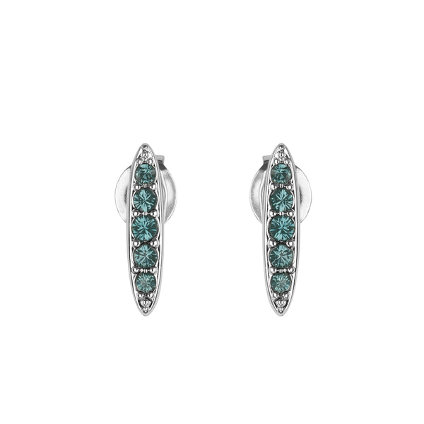 Pavé Navette Stud Earrings - Montana/Rhodium Plated