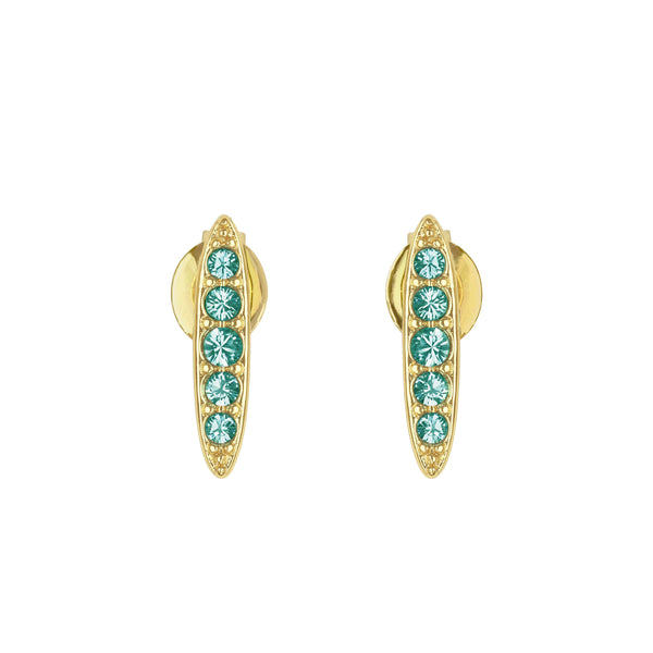 Pavé Navette Stud Earrings - Light Turquoise/Gold Plated