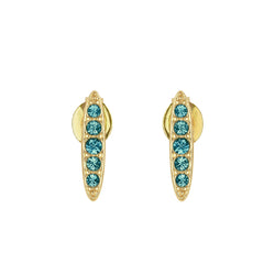 Pavé Navette Stud Earrings - Indicolite/Gold Plated