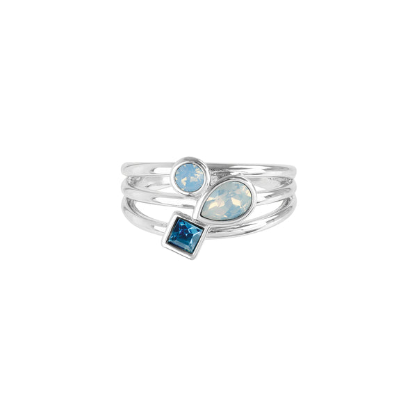 Mixed Crystal Charm Ring - Blue Multi/Rhodium Plated