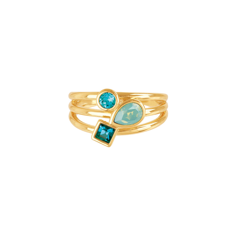 Mixed Crystal Charm Ring - Turquoise Multi/Gold Plated