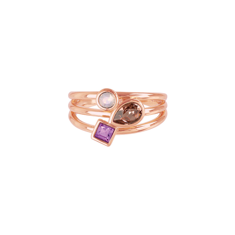 Mixed Crystal Charm Ring - Pink Multi/Rose Gold Plated