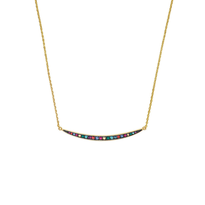 Adore Elegance Multi Color Curved Bar Necklace