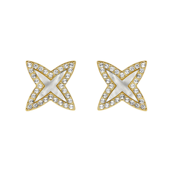 Adore Naturale Pave Resin 4 Point Star Earrings Detail