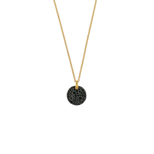 Adore Shimmer Large Pavé Disc Long Pendant Necklace