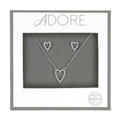 Pavé Heart Gift Set - Crystal/Rhodium Plated