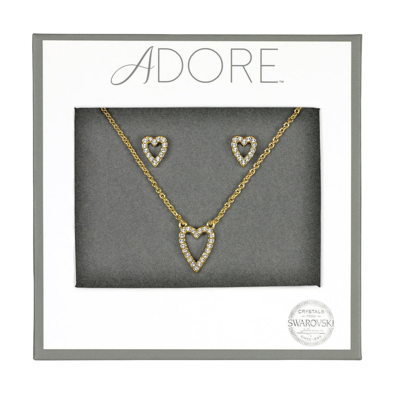 Pavé Heart Gift Set - Crystal/Gold Plated