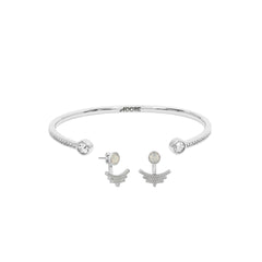 Pavé Arc Jacket Earring & Skinny Pavé & Stone Bangle Gift Set - Crystal/Rhodium Plated