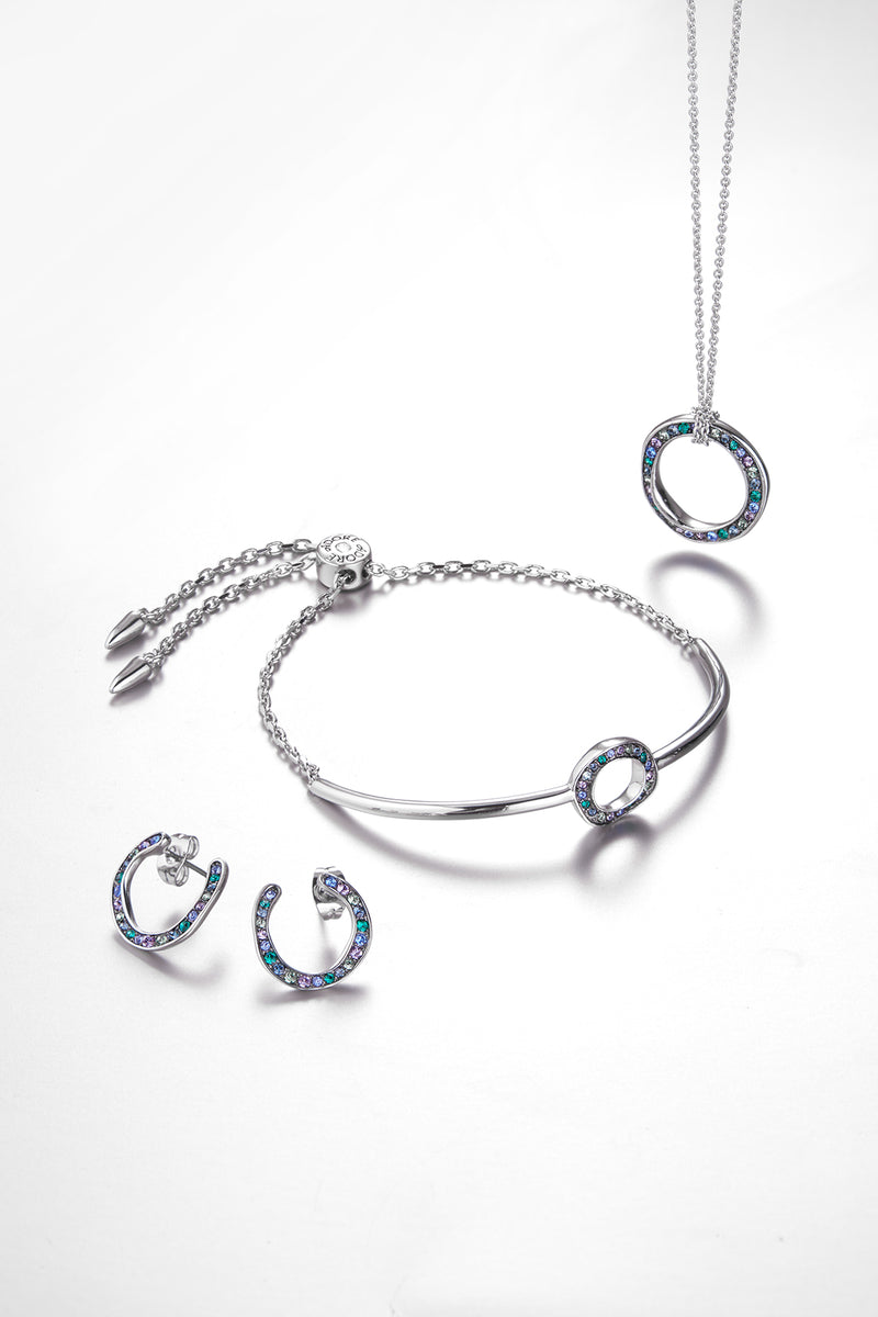 Organic Circle Necklace - Crystal/Rhodium Plated